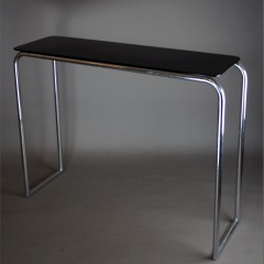 Modernist chromed tubular steel console table by PEL