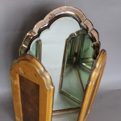 Art Deco Triptych dressing table mirror, original 1930's with peach border