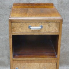 Art Deco bedside cabinet in figured walnut