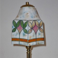 Pretty table lamp with brass base and hand painted shade