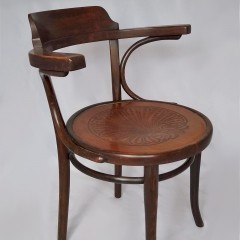 Bentwood armchair , generous proportions , stained beech