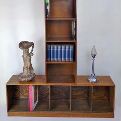Pair of large unix bookcases in oak