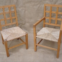 2 childrens lattice back chairs in pale oak