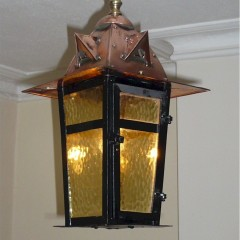 Arts and crafts ceiling light in copper , brass and steel