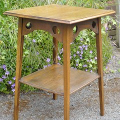Arts and crafts side table in oak