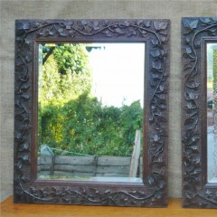 Pretty pair of arts and crafts mirrors in oak