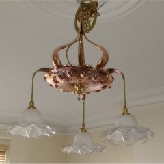 Arts and crafts ceiling light in polished copper and brass