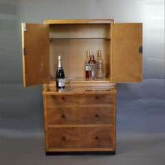 Art Deco blond cocktail cabinet by Betty Joel