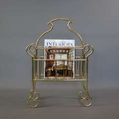 Victorian brass magazine rack Hall