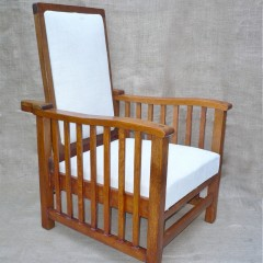 Adjustable armchair with slatted sides