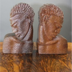 Pair of carved mahogany stylised bookends c1950's