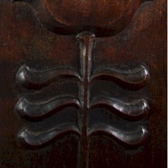 High back, carved and inlaid arts and crafts elbow chair c1900