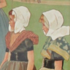 Large pair of arts and crafts nursery lithographs by H Cassiers for Lawrence and Jellicoe
