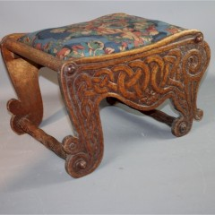 Celtic carved arts and crafts stool .Fivemiletown