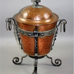 Arts and Crafts copper and iron coal bin. c1900
