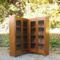 oak corner glazed bookcase