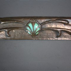 Arts and crafts copper fire fender with Ruskin roundel