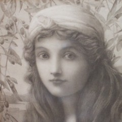 Pre Raphaelite lithograph by Henry Ryland