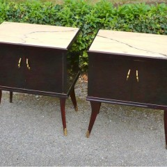 Elegant pair of lacquered , Mid Century , Italian bedside cabinets