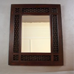 Nice Moorish bobbin framed mirror c1900