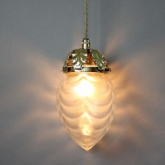 Art Nouveau brass pendant and conical shade lamp