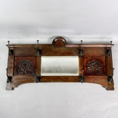 Arts and crafts period oak hat rack
