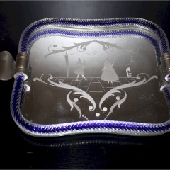 Vintage Venetian mirrored dressing table tray