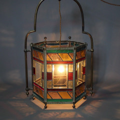 Victorian stained glass and brass lantern