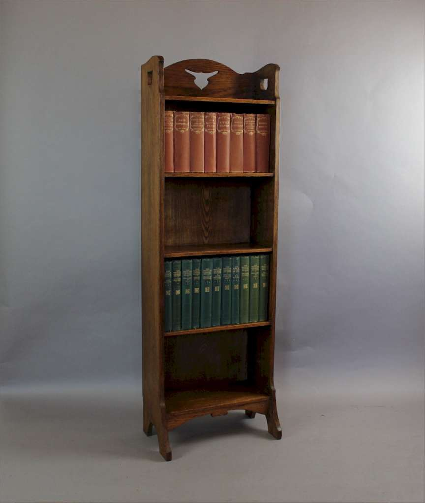 arts and crafts oak open bookcase with tulip shaped cut. Black Bedroom Furniture Sets. Home Design Ideas