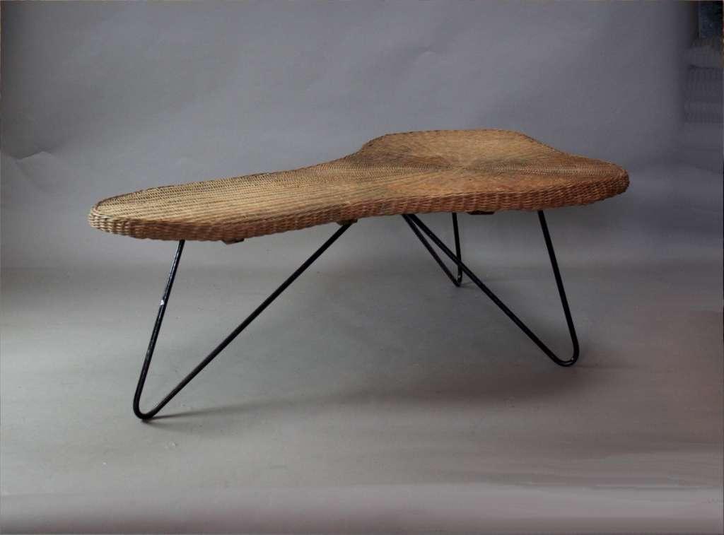 ... 1950u0027s Wicker Boomerang Table ...